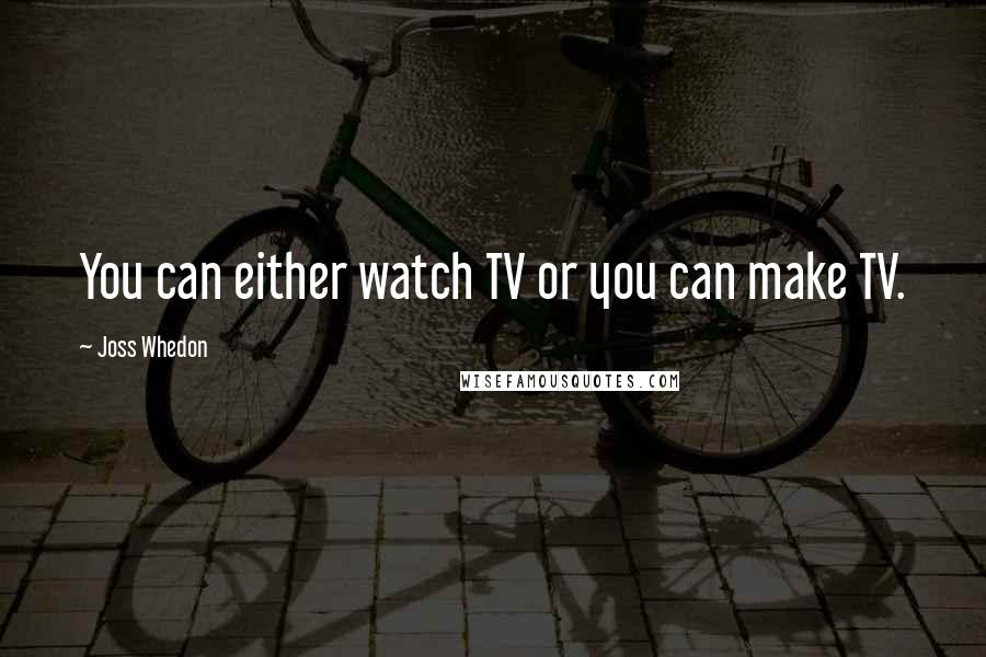 Joss Whedon quotes: You can either watch TV or you can make TV.