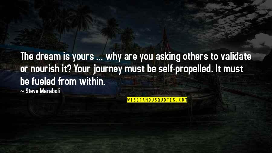 Journey And Dream Quotes By Steve Maraboli: The dream is yours ... why are you