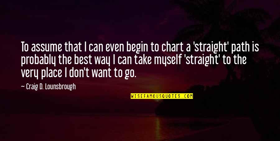 Journey To Destination Quotes By Craig D. Lounsbrough: To assume that I can even begin to