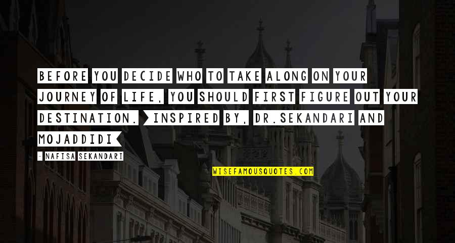 Journey To Destination Quotes By Nafisa Sekandari: Before you decide who to take along on