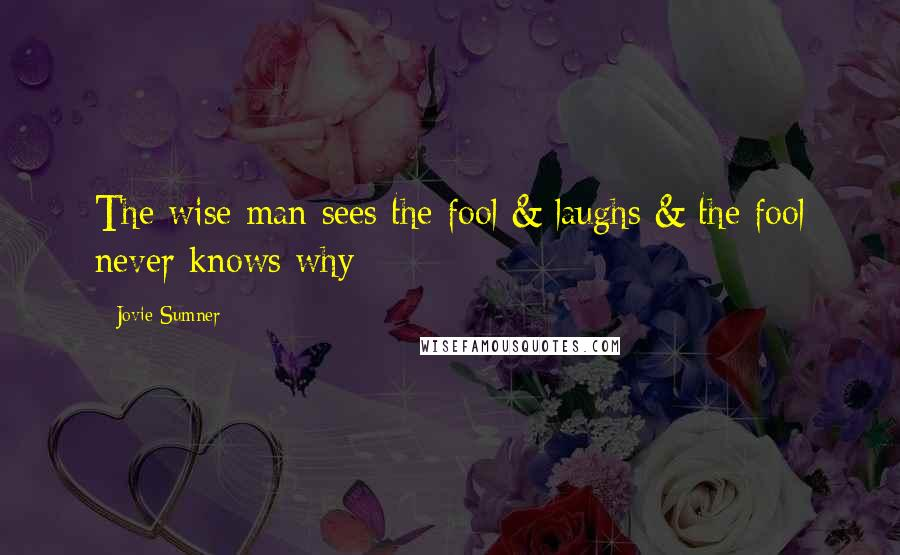 Jovie Sumner quotes: The wise man sees the fool & laughs & the fool never knows why