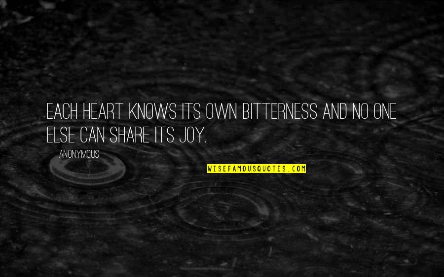 Joy In Bible Quotes By Anonymous: Each heart knows its own bitterness and no