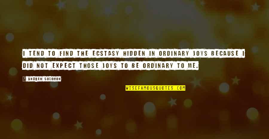 Joy In Quotes By Andrew Solomon: I tend to find the ecstasy hidden in