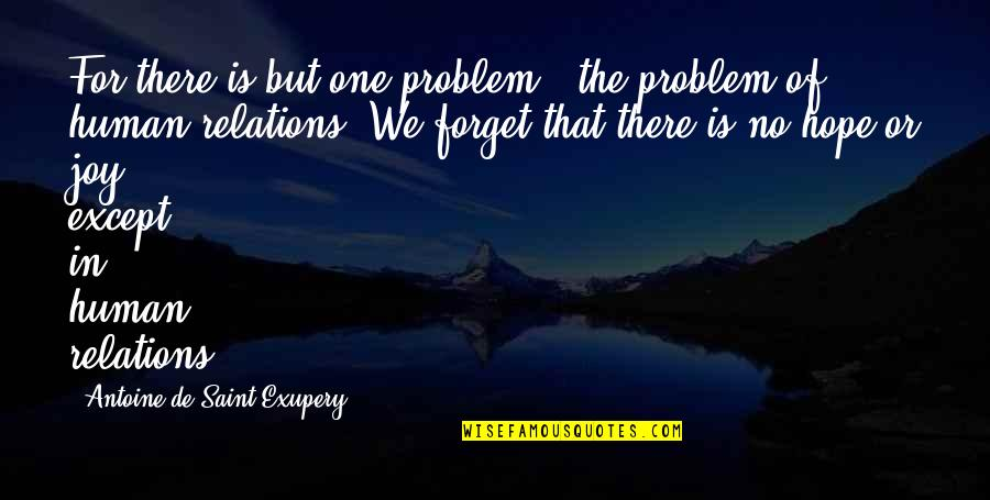 Joy In Quotes By Antoine De Saint-Exupery: For there is but one problem - the