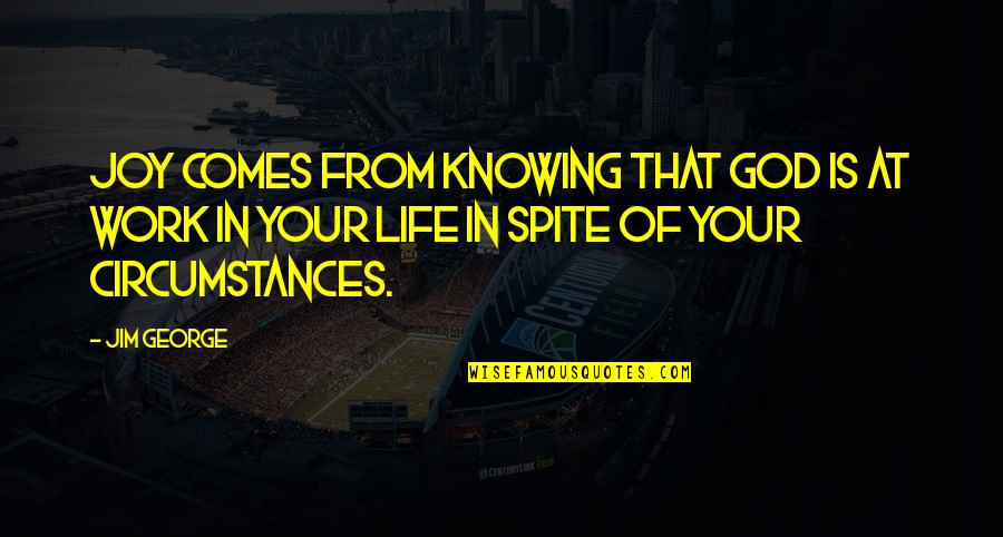 Joy In Quotes By Jim George: Joy comes from knowing that God is at