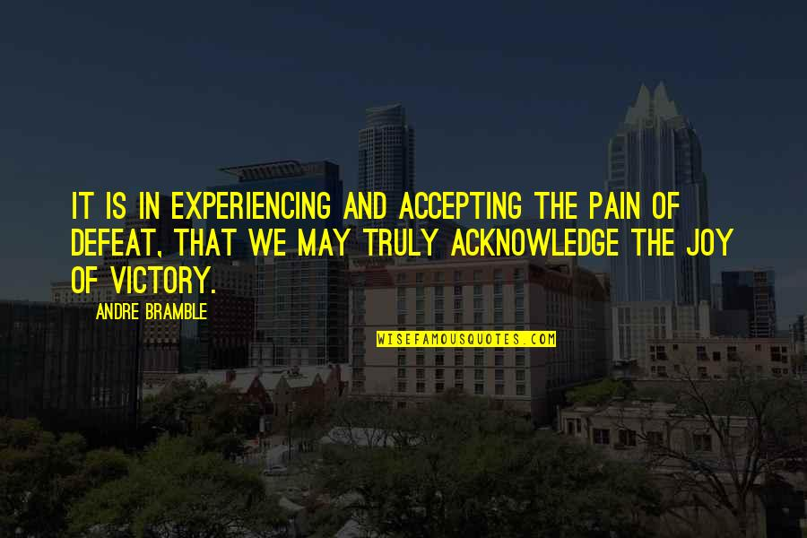 Joy In Sports Quotes By Andre Bramble: It is in experiencing and accepting the pain