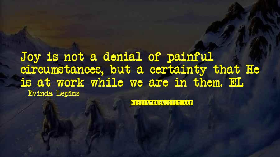 Joy In Work Quotes By Evinda Lepins: Joy is not a denial of painful circumstances,