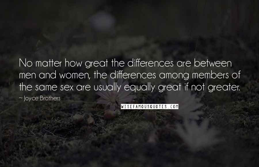 Joyce Brothers quotes: No matter how great the differences are between men and women, the differences among members of the same sex are usually equally great if not greater.