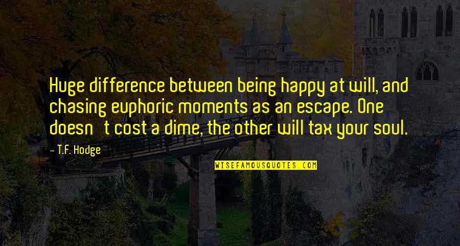 Joyful Soul Quotes By T.F. Hodge: Huge difference between being happy at will, and