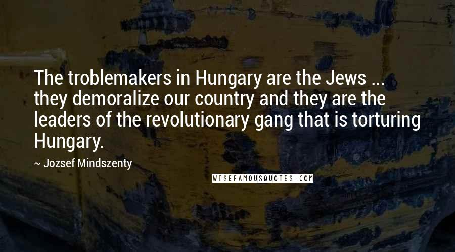 Jozsef Mindszenty quotes: The troblemakers in Hungary are the Jews ... they demoralize our country and they are the leaders of the revolutionary gang that is torturing Hungary.