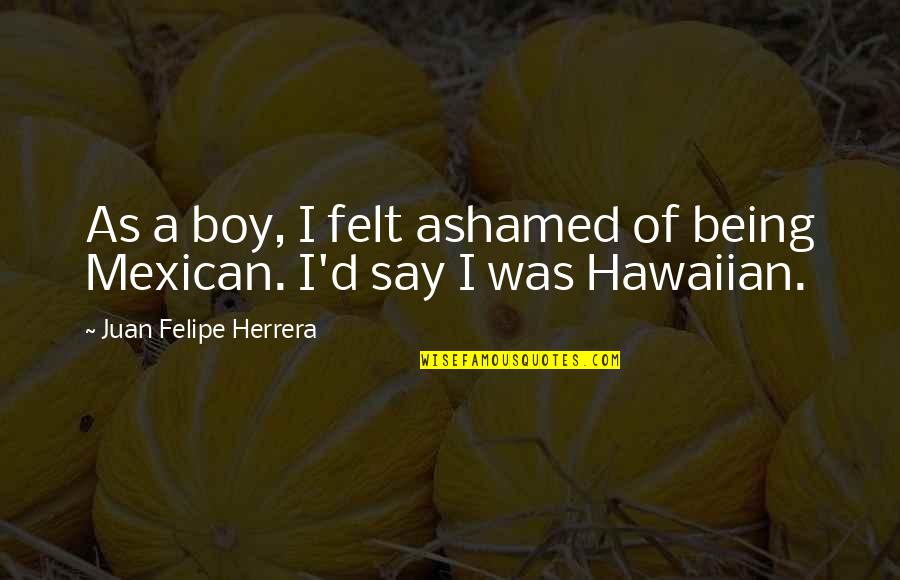 Juan Felipe Herrera Quotes By Juan Felipe Herrera: As a boy, I felt ashamed of being