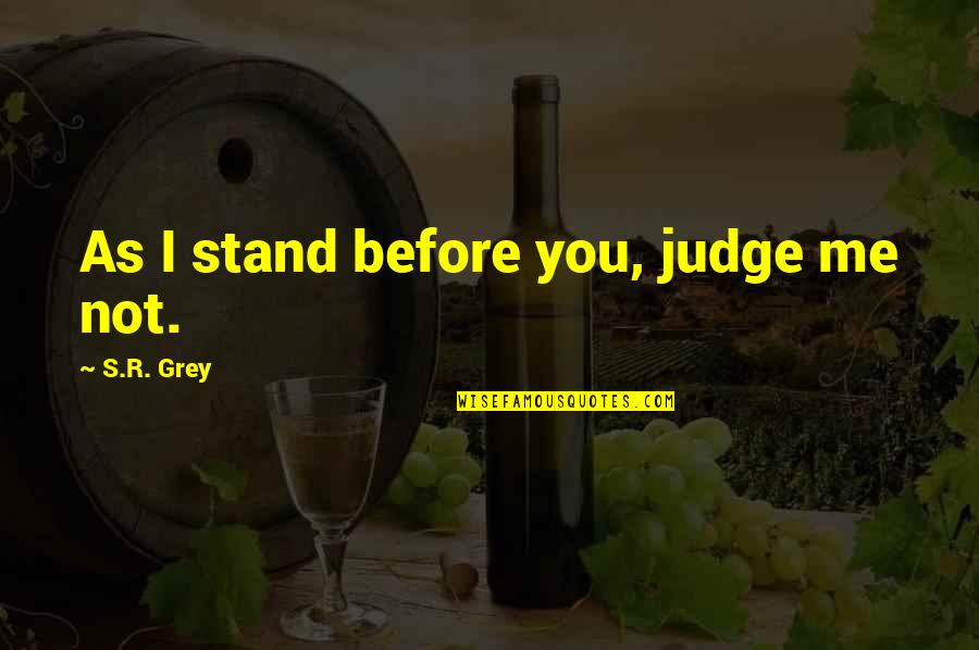 Judge Me Not Quotes By S.R. Grey: As I stand before you, judge me not.