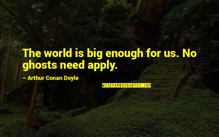 Judge Yourself Not Others Quotes By Arthur Conan Doyle: The world is big enough for us. No