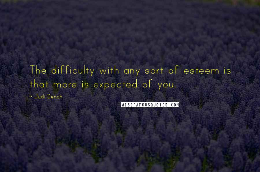 Judi Dench quotes: The difficulty with any sort of esteem is that more is expected of you.