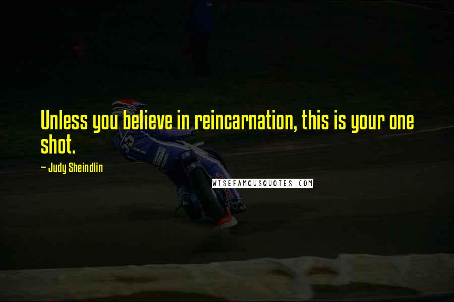 Judy Sheindlin quotes: Unless you believe in reincarnation, this is your one shot.