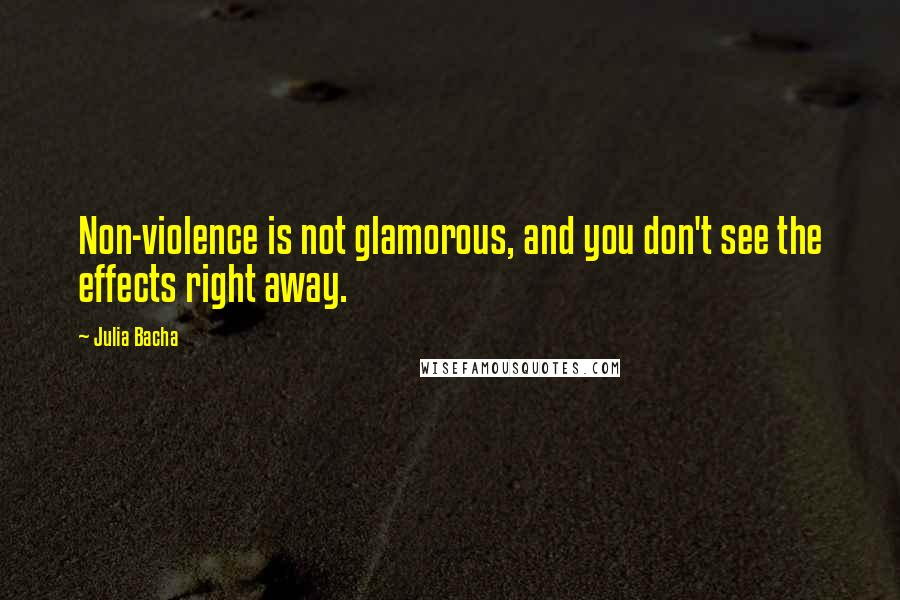 Julia Bacha quotes: Non-violence is not glamorous, and you don't see the effects right away.