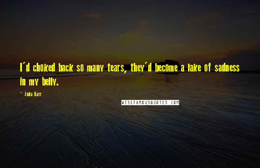 Julia Karr quotes: I'd choked back so many tears, they'd become a lake of sadness in my belly.