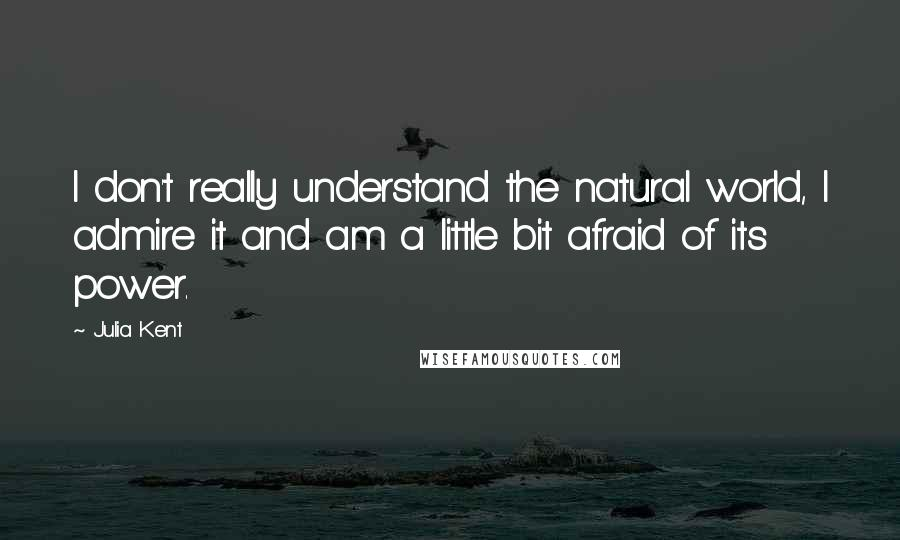 Julia Kent quotes: I don't really understand the natural world, I admire it and am a little bit afraid of its power.