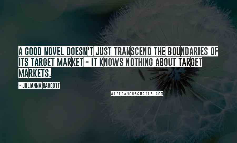 Julianna Baggott quotes: A good novel doesn't just transcend the boundaries of its target market - it knows nothing about target markets.
