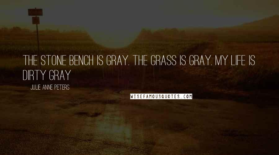 Julie Anne Peters quotes: The stone bench is gray. The grass is gray. My life is dirty gray