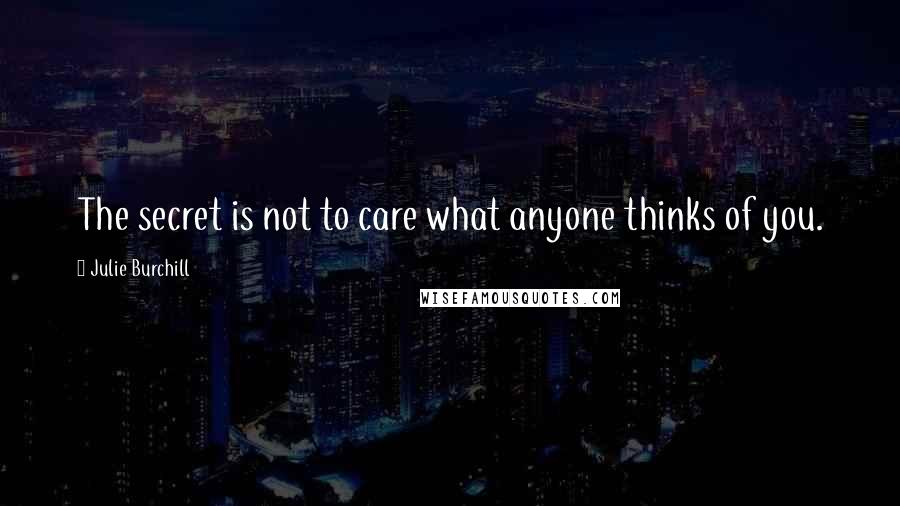 Julie Burchill quotes: The secret is not to care what anyone thinks of you.