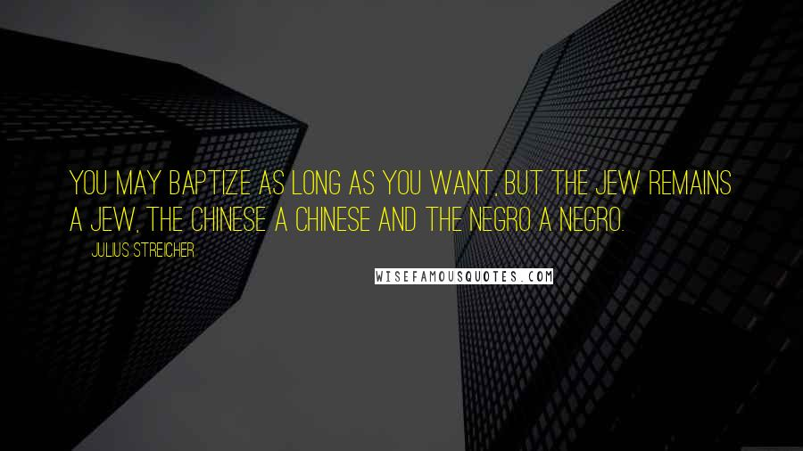 Julius Streicher quotes: You may baptize as long as you want, but the Jew remains a Jew, the Chinese a Chinese and the Negro a Negro.