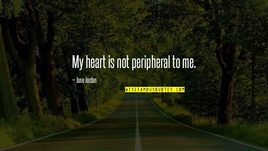 June's Quotes By June Jordan: My heart is not peripheral to me.
