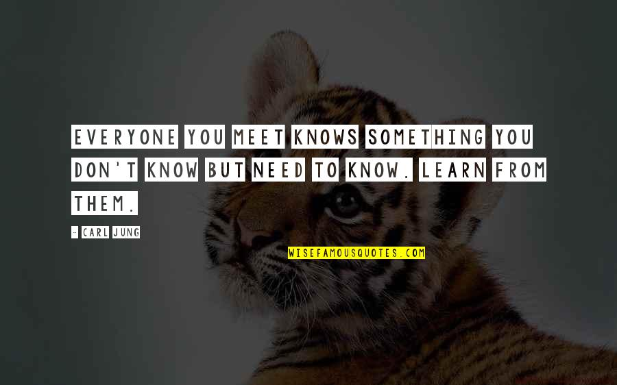 Jung Carl Quotes By Carl Jung: Everyone you meet knows something you don't know