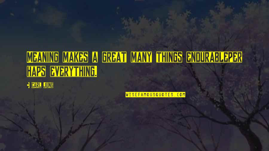Jung Carl Quotes By Carl Jung: Meaning makes a great many things endurableper haps