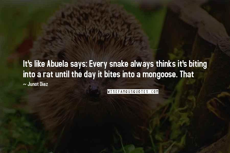 Junot Diaz quotes: It's like Abuela says: Every snake always thinks it's biting into a rat until the day it bites into a mongoose. That
