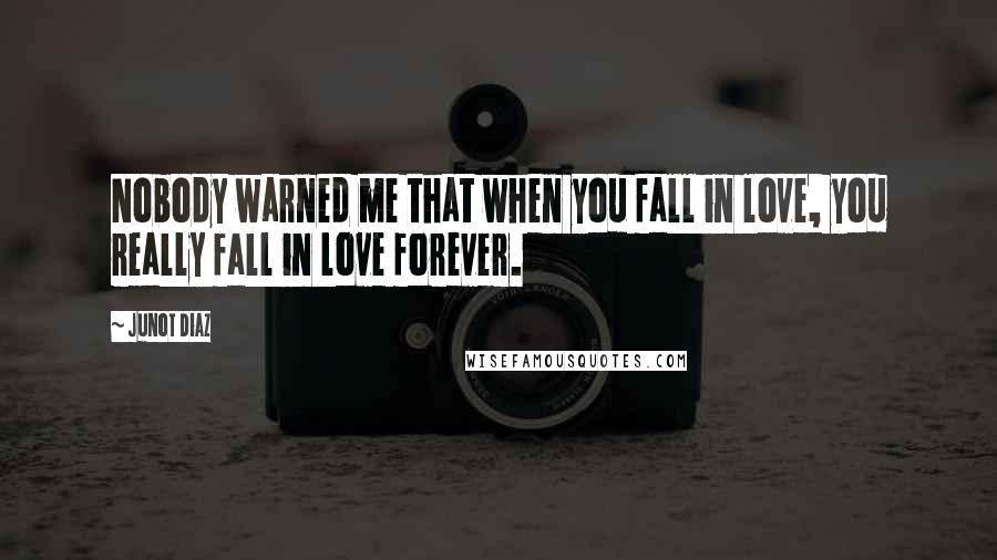 Junot Diaz quotes: Nobody warned me that when you fall in love, you really fall in love forever.