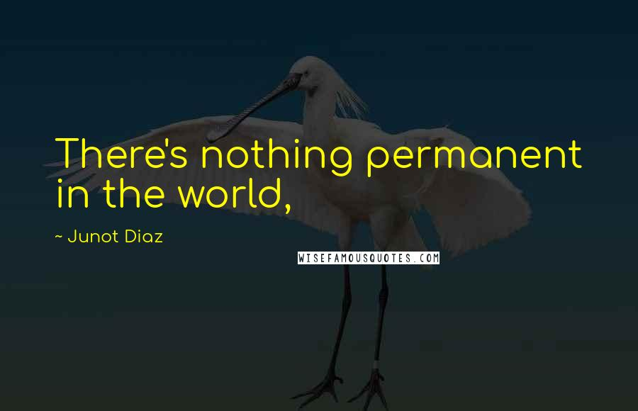 Junot Diaz quotes: There's nothing permanent in the world,