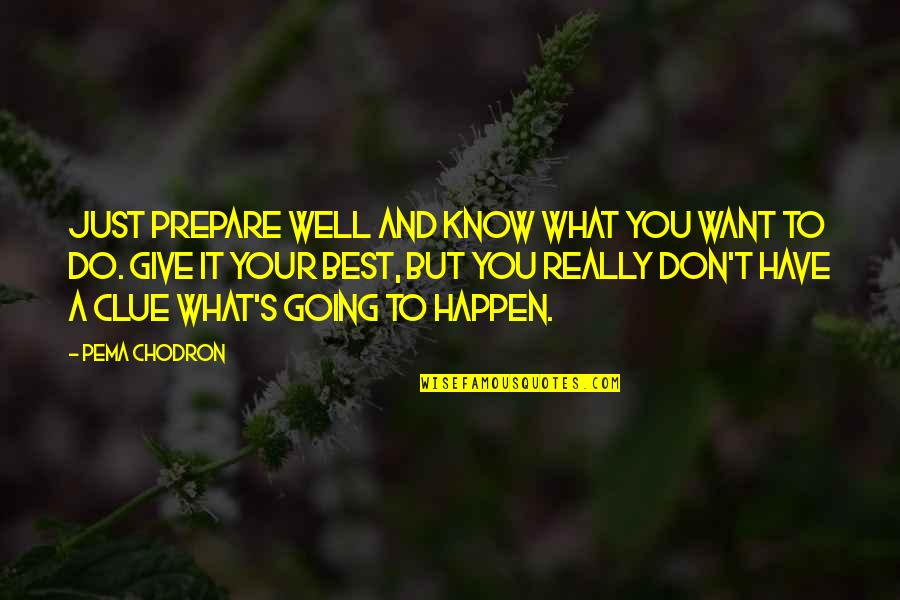 Just Do Your Best Quotes By Pema Chodron: Just prepare well and know what you want