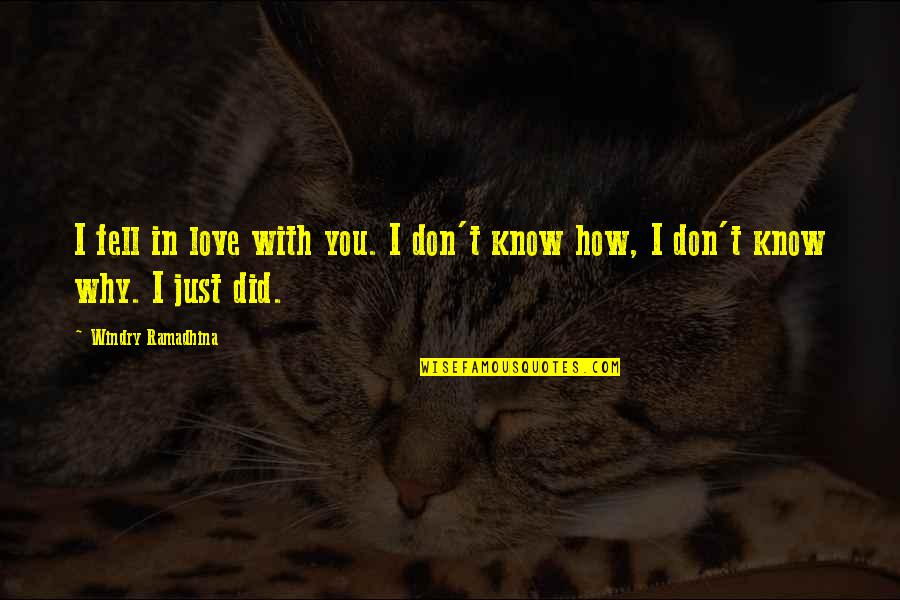 Just Fell In Love Quotes By Windry Ramadhina: I fell in love with you. I don't