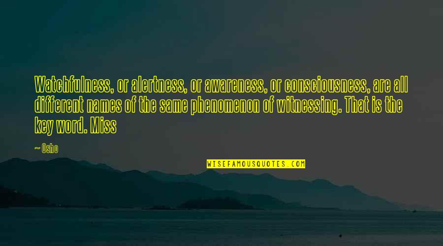 Just Gotta Believe Quotes By Osho: Watchfulness, or alertness, or awareness, or consciousness, are