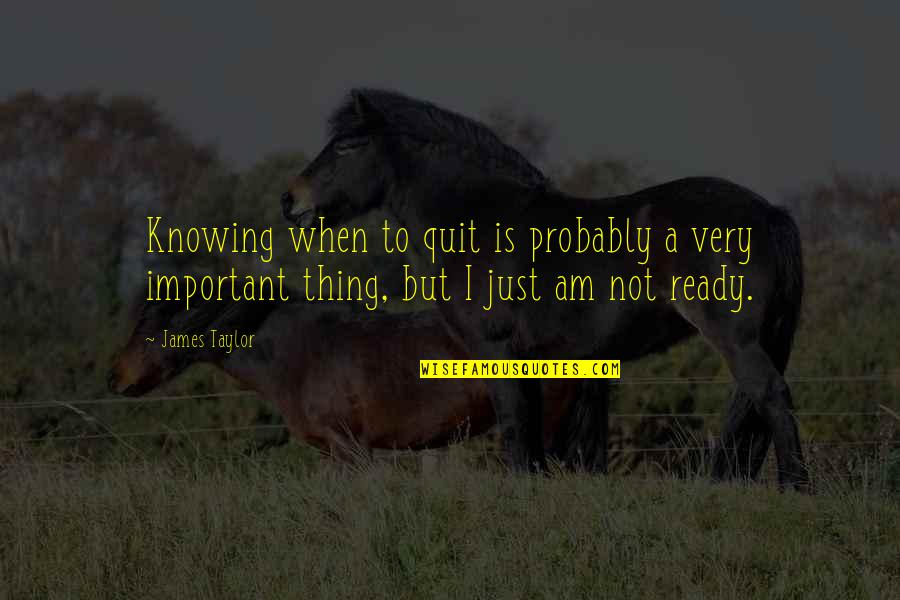 Just Not Ready Quotes By James Taylor: Knowing when to quit is probably a very