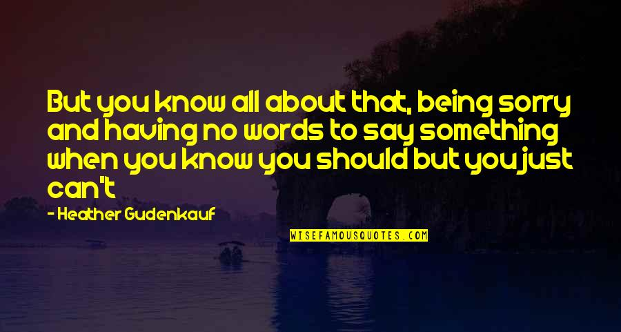 Just Something About You Quotes By Heather Gudenkauf: But you know all about that, being sorry