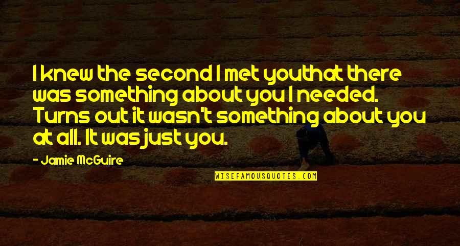 Just Something About You Quotes By Jamie McGuire: I knew the second I met youthat there