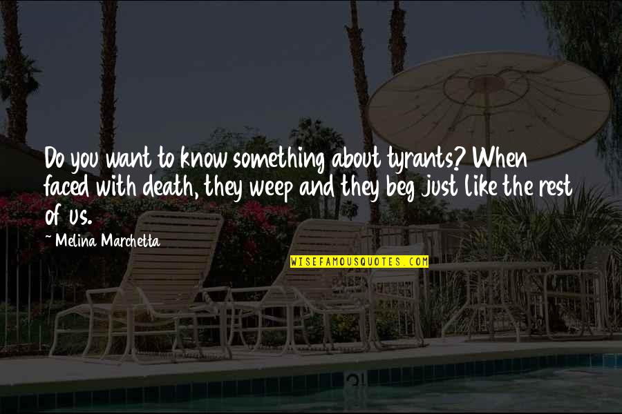 Just Something About You Quotes By Melina Marchetta: Do you want to know something about tyrants?
