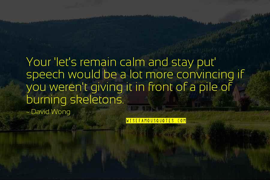Just Stay Calm Quotes By David Wong: Your 'let's remain calm and stay put' speech
