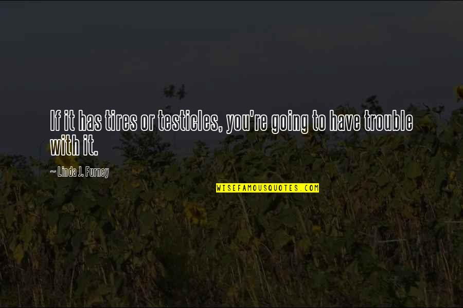 Just Tires Quotes By Linda J. Furney: If it has tires or testicles, you're going