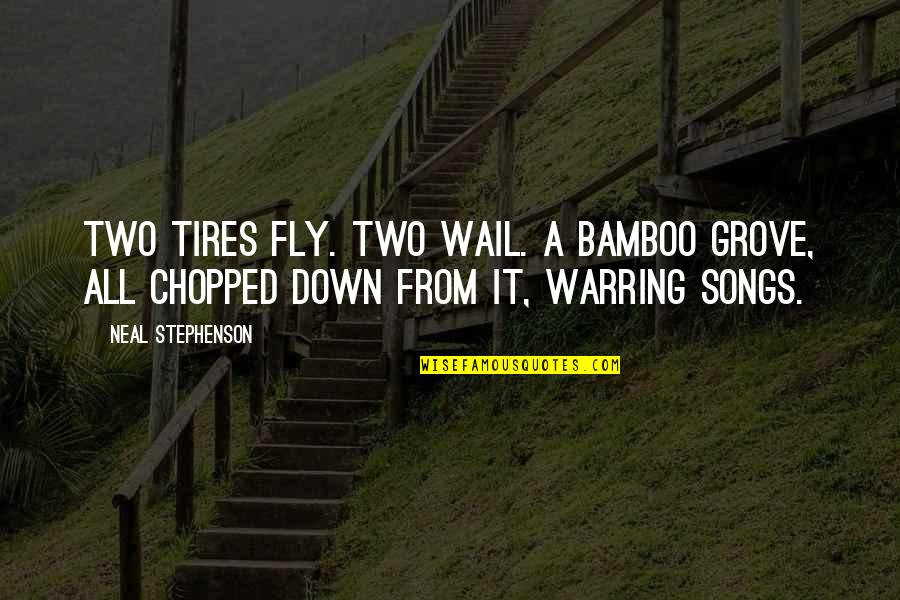 Just Tires Quotes By Neal Stephenson: Two tires fly. Two wail. A bamboo grove,