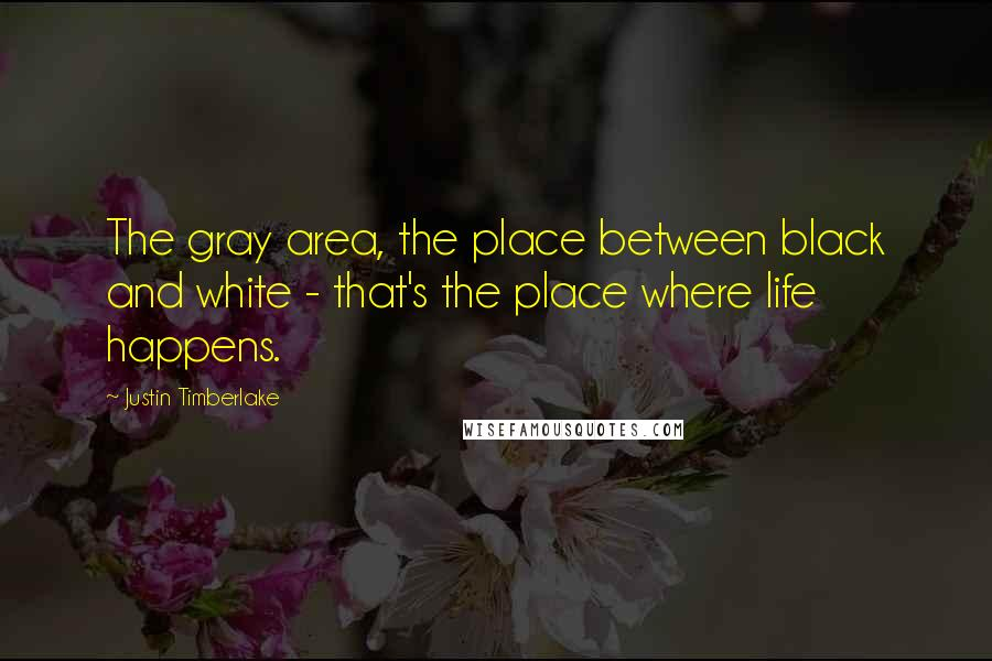 Justin Timberlake quotes: The gray area, the place between black and white - that's the place where life happens.