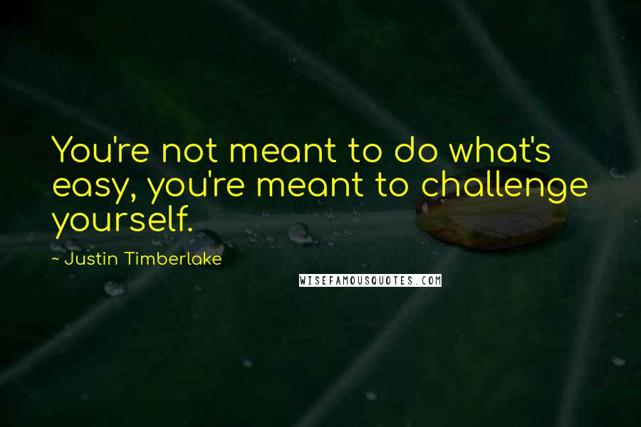 Justin Timberlake quotes: You're not meant to do what's easy, you're meant to challenge yourself.