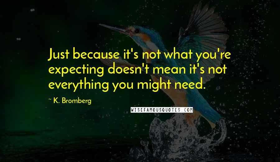 K. Bromberg quotes: Just because it's not what you're expecting doesn't mean it's not everything you might need.