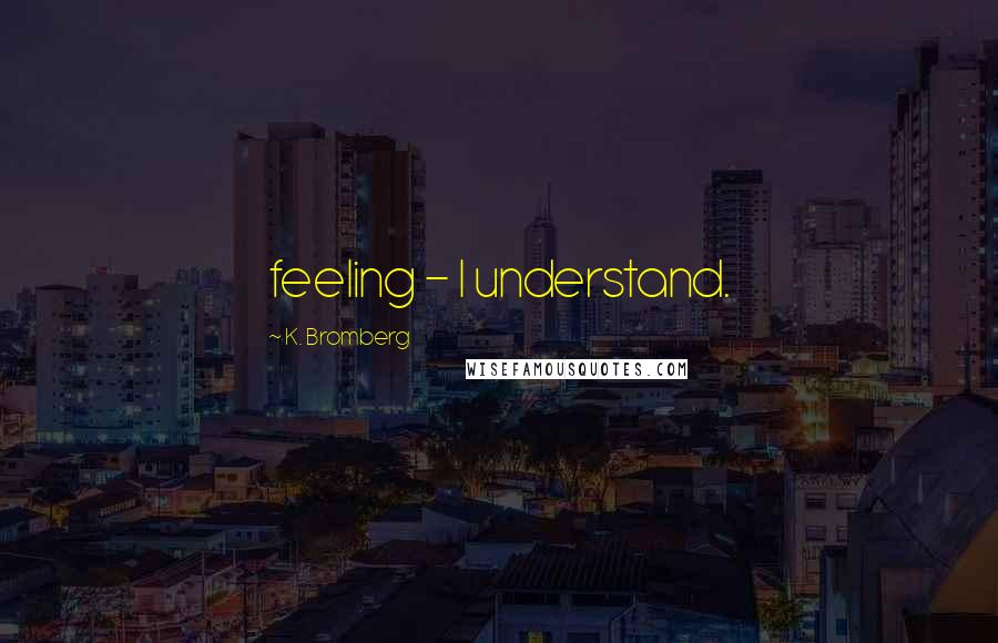 K. Bromberg quotes: feeling - I understand.