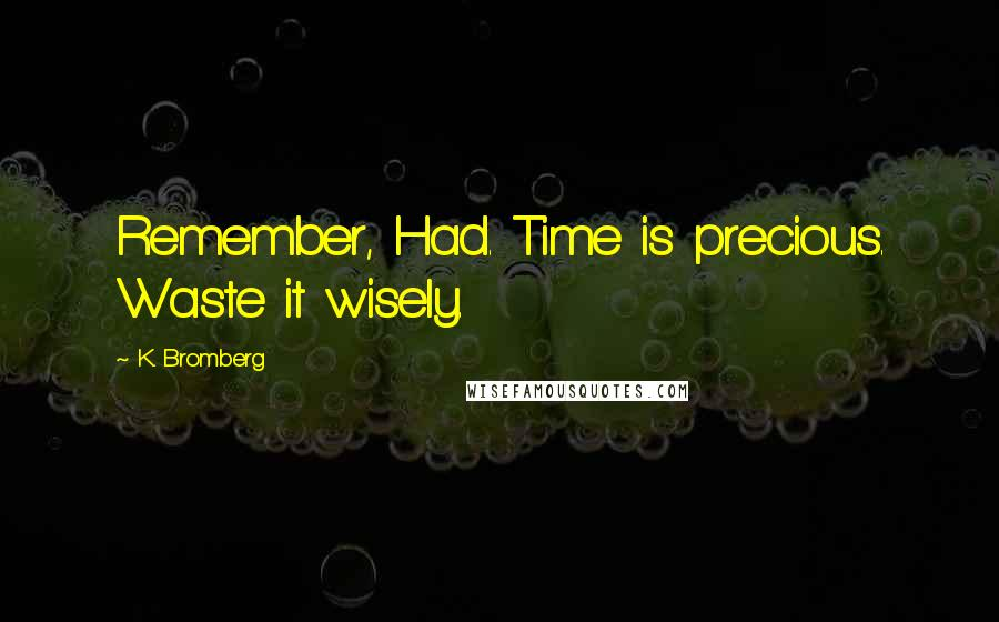 K. Bromberg quotes: Remember, Had. Time is precious. Waste it wisely.