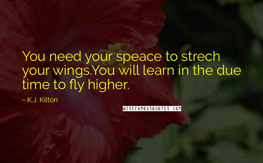 K.J. Kilton quotes: You need your speace to strech your wings.You will learn in the due time to fly higher.