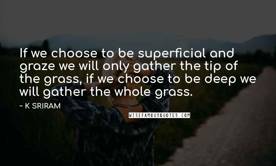K SRIRAM quotes: If we choose to be superficial and graze we will only gather the tip of the grass, if we choose to be deep we will gather the whole grass.
