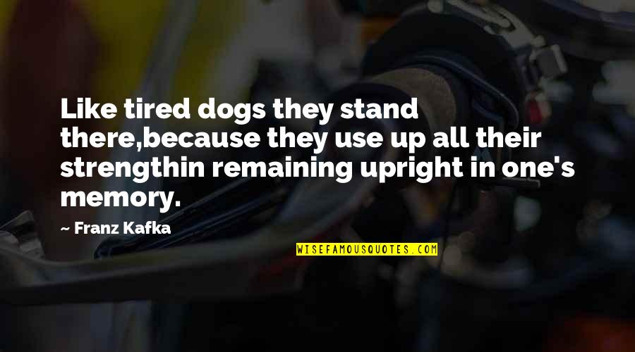 Kafka's Quotes By Franz Kafka: Like tired dogs they stand there,because they use